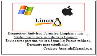 Servicios: Mantenimiento, Reparacion, Diagnostico, Antivirus, Paginas Web y Blogs.