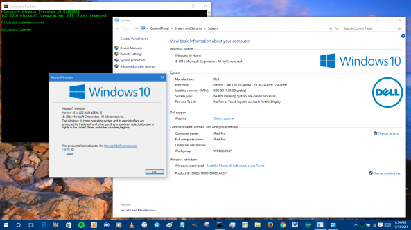Instalacion Exitosa; ahora estamos en Windows 10 Version 1115 (Build 10586.3)