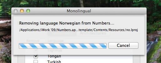 how to delete language files mac