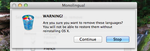 remove languages from osx