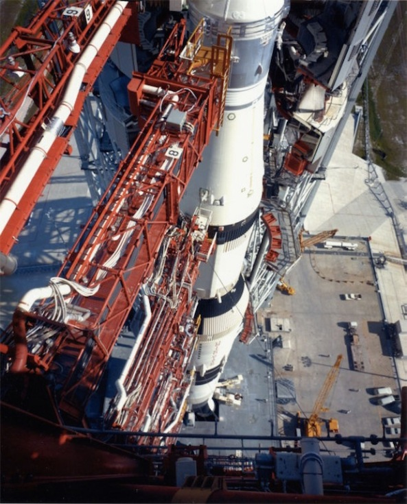Apollo 11 and Saturn V as seen from atop the launch tower.