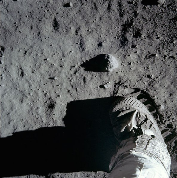 Buzz Aldrin's bootprint in the lunar soil.