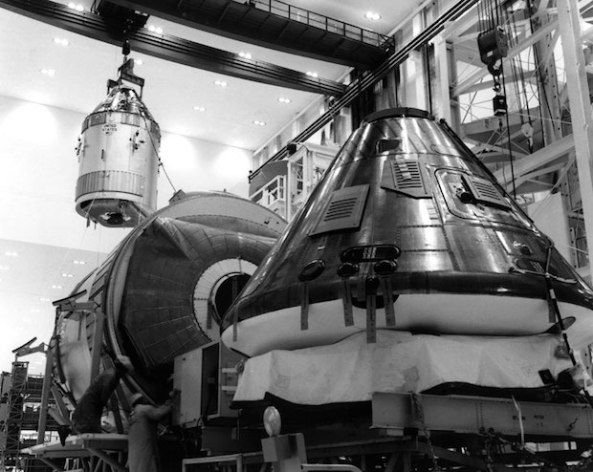 Apollo 11 CSM 107 is moved in preparation for the first manned lunar landing.