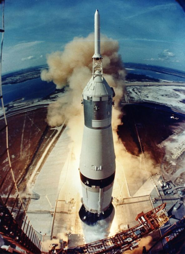 Apollo 11 liftoff as viewed by a launch tower camera.