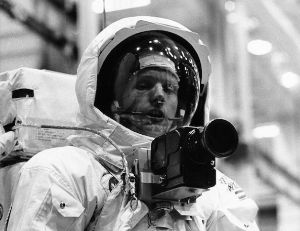 Apollo 11 Spacecraft Commander Neil Armstrong in the spacesuit he will wear on the lunar surface at the Manned Spacecraft Center in Houston, Texas.