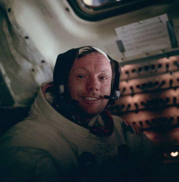 Armstrong inside Apollo 11 landing module after historic moonwalk.