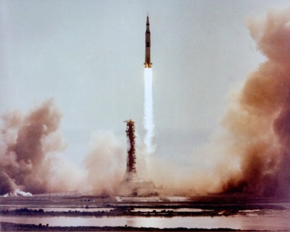 Moonbound Apollo 11 clears the launch tower.