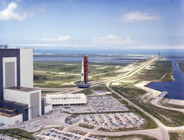 Saturn V, the space vehicle used for the Apollo 11 mission is rolled down the 3.5 mile crawlerway to Launch Complex 39A.