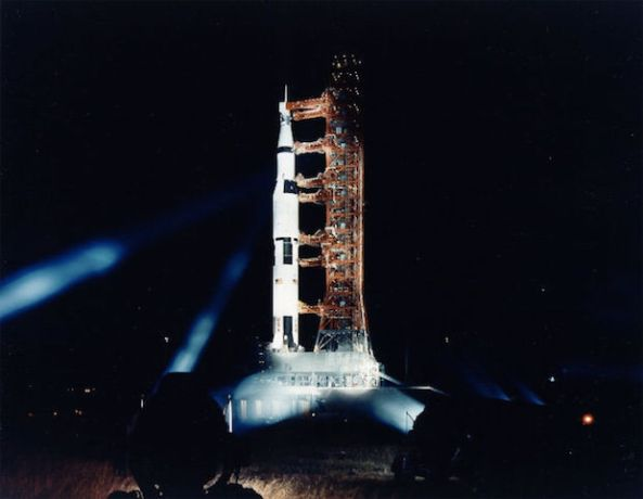 Searchlights shine onto the Apollo 11 space vehicle at Launch Complex 39A during a Countdown Demonstration Test.