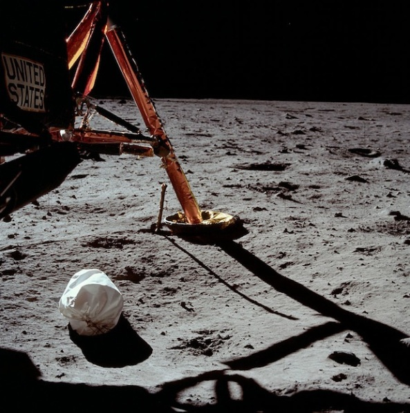 The first photo Apollo 11 astronaut Neil Armstrong took after setting foot on the Moon