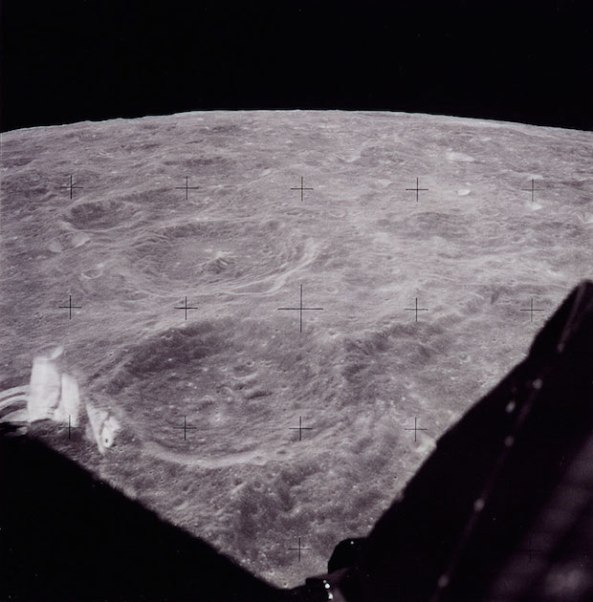 Apollo 11's view during approach to landing site.