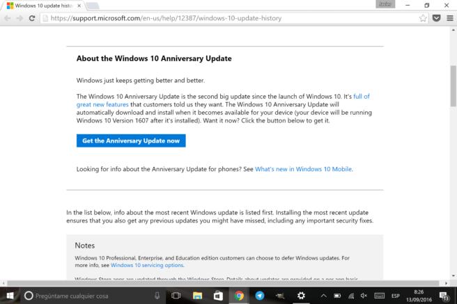 Windows 10 asistentes para actualizacion
